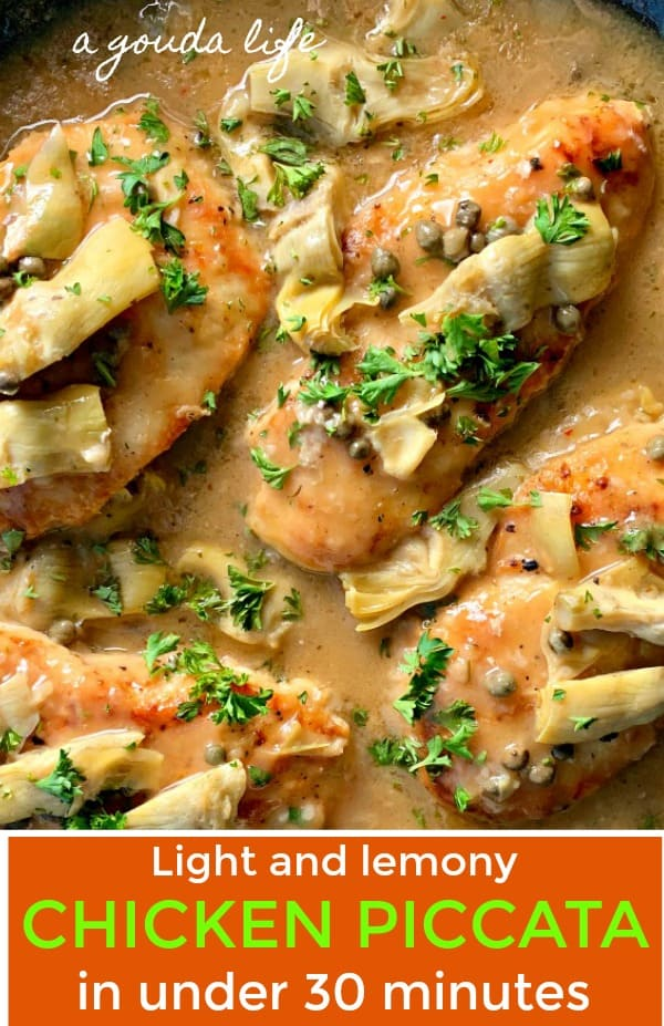 pinterest pin for chicken piccata