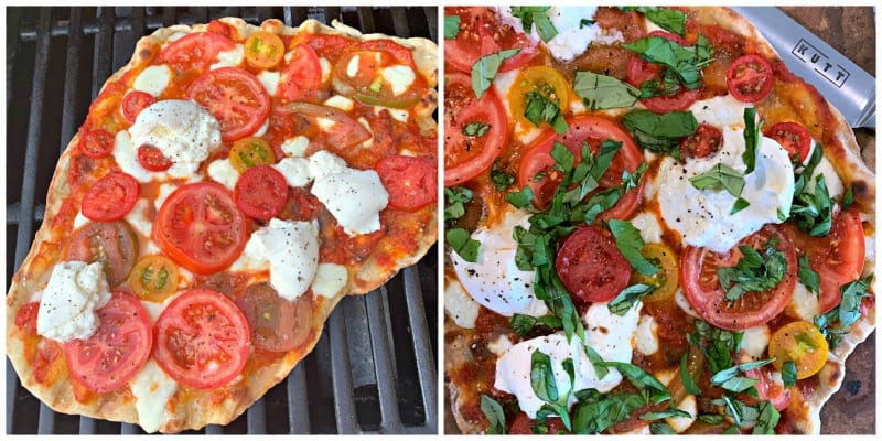 overhead view of pizza with toppings on the grill and after with herbs ready to eat