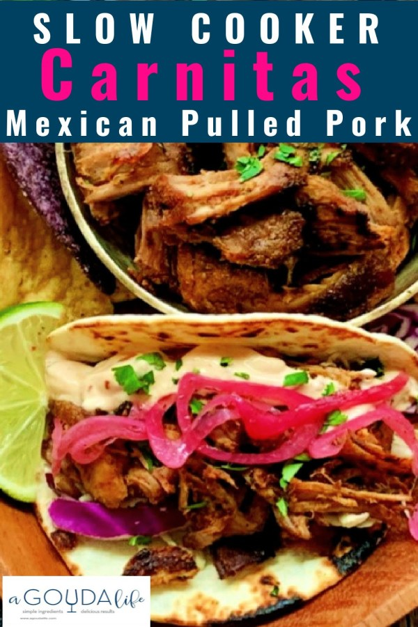 pinterest pin showing carnitas tacos with bowl filled with carnitas