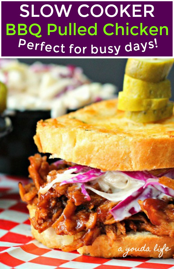 pinterest pin for showing bbq pulled chicken on texas toast