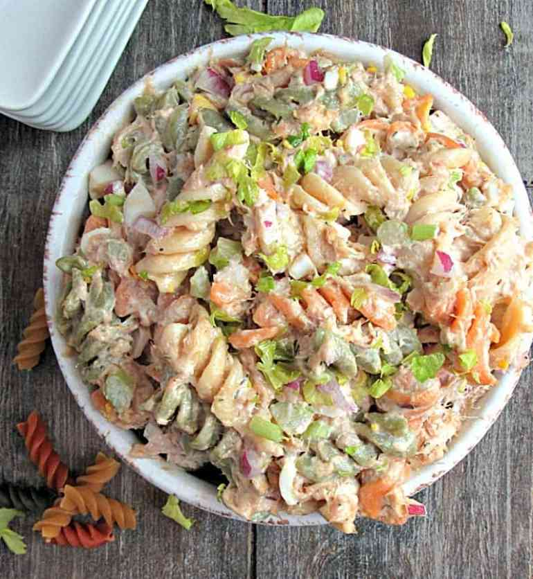 Tuna Macaroni Salad: classic with real mayonnaise, chopped celery, onions and packed with tuna. Perfect for picnics + BBQ's from Memorial to Labor Day.