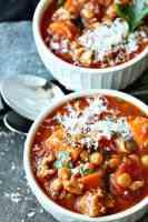 2 bowls of turkey and lentil soup
