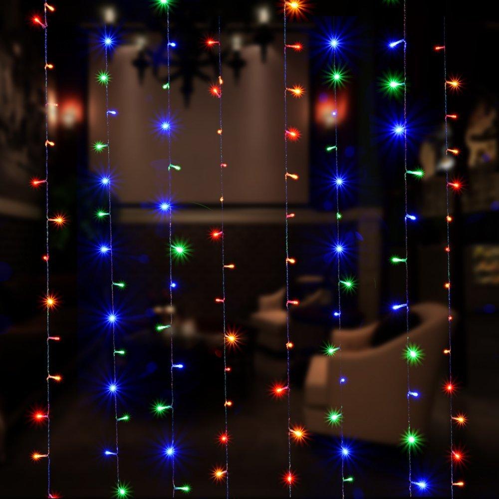 curtain lights agptek 9 8ft x 9 8ft solar power driver 2 way string lights for christmas halloween wedding party backdrops full waterproof ul safety standard muticolor agptek