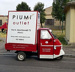 Dario l'ape pubblicitario. Pubblicità per Piumi Outlet.