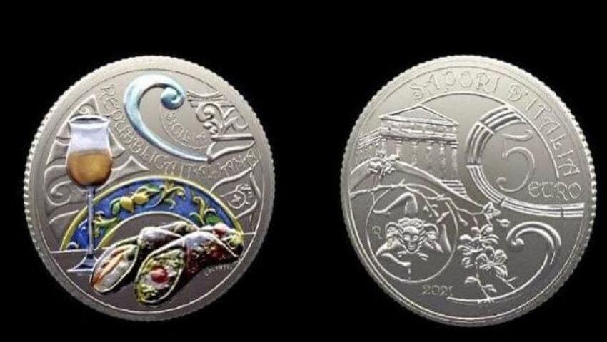 Cannolo e passito celebrati in una moneta della Zecca dello Stato
