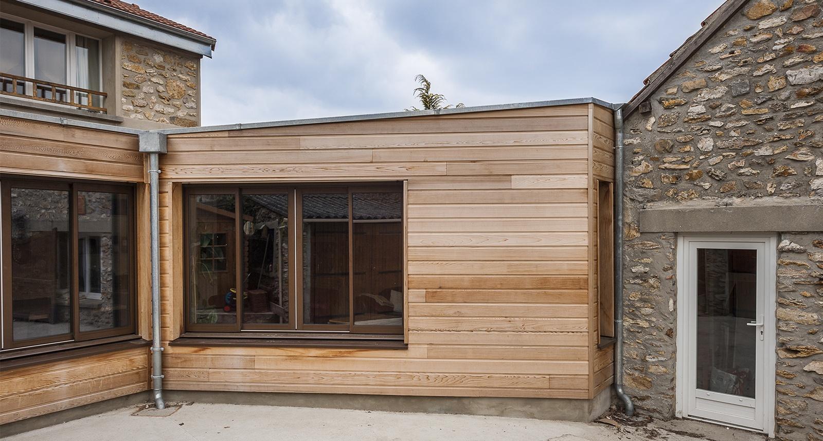 extension ossature bois toit plat