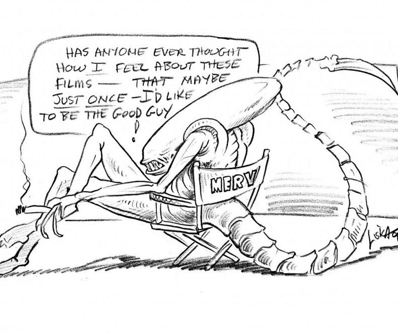 Cartoon by Laine Liska during production of Alien3