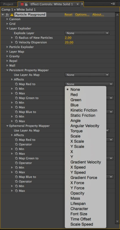After Effects particle Playground persistent properties