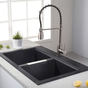 Kraus KGD-433B 33 1.2 inch Dual Mount 50.50 Double Bowl Black Onyx Granite Kitchen Sink
