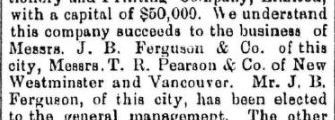 J.B. Ferguson, T.R. Pearson, David Robson, and J.A. Hart form B.C. Stationery and Printing Co.