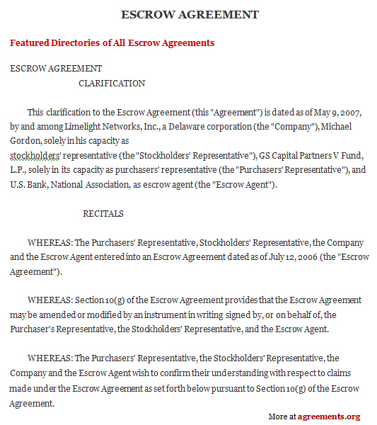 It is understood and acknowledged that these funds are being held by escrow agent solely as an accommodation to the parties to allow the completion of the. Escrow Agreement Template Download Word Pdf Agreements Org