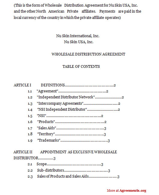 Wholesale Distribution AgreementSample Wholesale Distribution Agreement