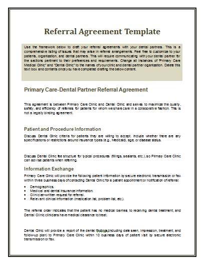 Referral Agreement Template | Free Agreement Templates
