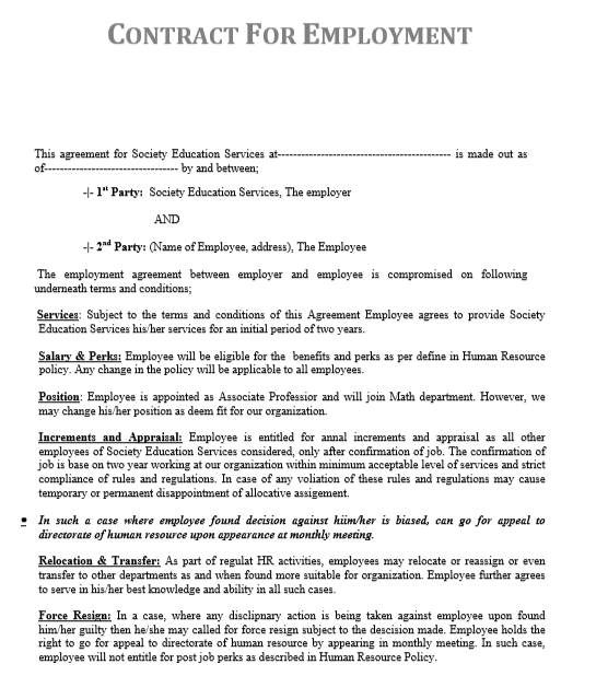 Job Contract Template | By Agreementstemplates.org