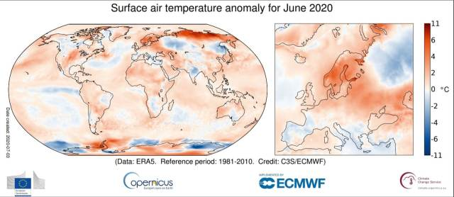 Le anomalie climatiche di giugno 2020 secondo il servizio Copernicus