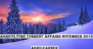 Agricultural Current Affairs November-2018
