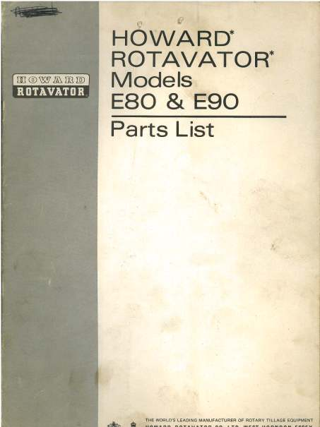Howard Rotavator E80 Amp E90 Parts Manual