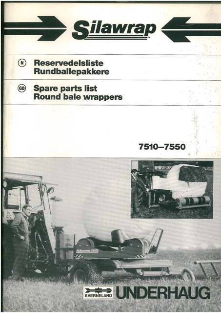 Kverneland Silawrap Bale Wrapper Parts Manual Models