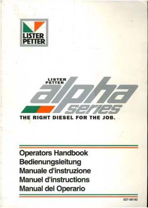 Lister Petter Diesel Engine Alpha Series Operators Manual