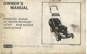 Roper Lawn Mower Model No R340AR Operators Manual with