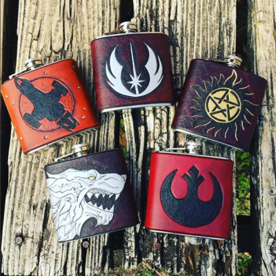Custom Leather Flasks