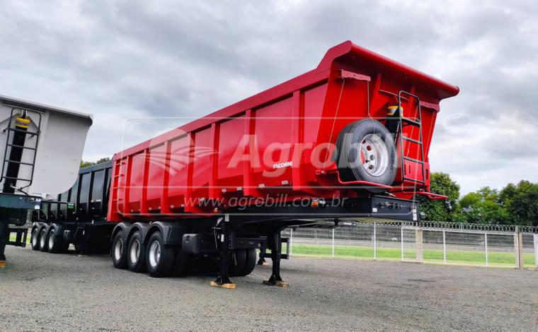 Carreta Caçamba 40m³ Rebaixada cor Vermelha S/ Pneus FACCHINI 0km PRONTA ENTREGA - Carreta Basculante - Facchini - Agrobill - Tratores, Implementos Agrícolas, Pneus
