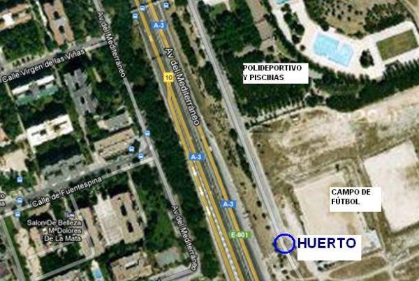 Localización del huerto de la AV La Colmena en el barrio de Santa Eugenia