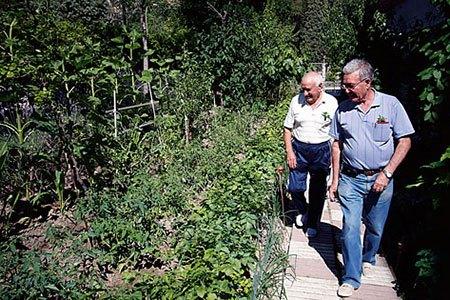 Los creadores del huerto pasean entre los cultivos