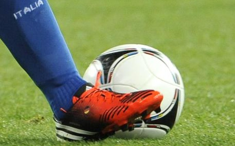 A file picture of the shoe of Italian Riccardo Montolivo with a little German flag during the quarter final match of the UEFA EURO 2012 between England and Italy in Kiev, Ukraine, 24 June 2012. Montolivo has a German mother - therefore he has the flag on his shoe. ANSA/MAURIZIO BRAMBATTI