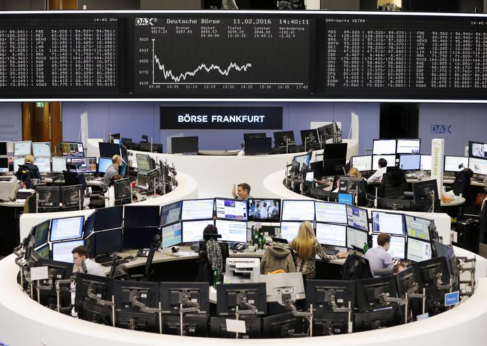 The curve of the German stock index DAX is displayed on a board at the stock market in Frankfurt, Germany, Thursday, Feb. 11, 2016. (ANSA/AP Photo/Michael Probst)