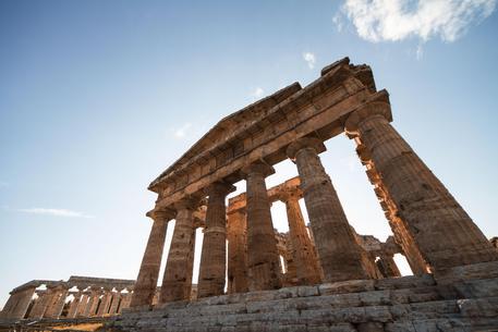 Il parco archeologico di Paestum che sarà diretto dall'archeologo tedesco Gabriel Zuchtriegel, uno dei nuovi direttori nominati dal ministero dei Beni Culturali, 19 Agosto 2015. ANSA/CESARE ABBATE