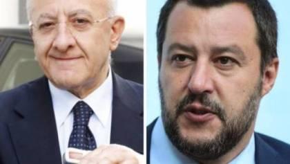 """SALVINI FRECCIATA A DE LUCA: """"LA CAMPANIA STA FACENDO MENO DI TUTTI IN ITALIA"""""""