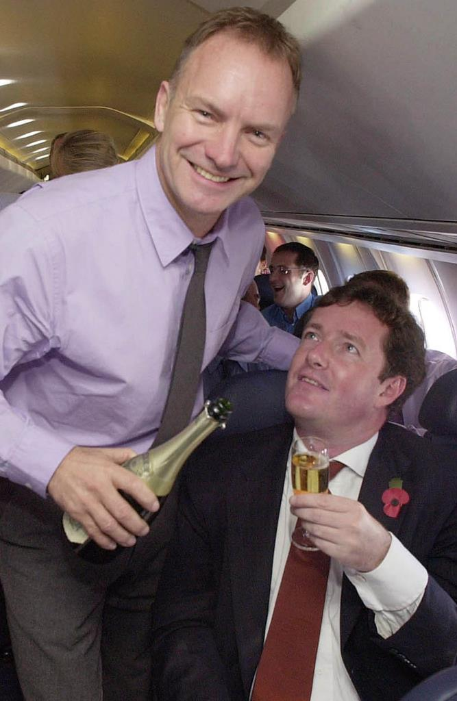 Here, rock legend Sting serves Champagne to Piers Morgan.
