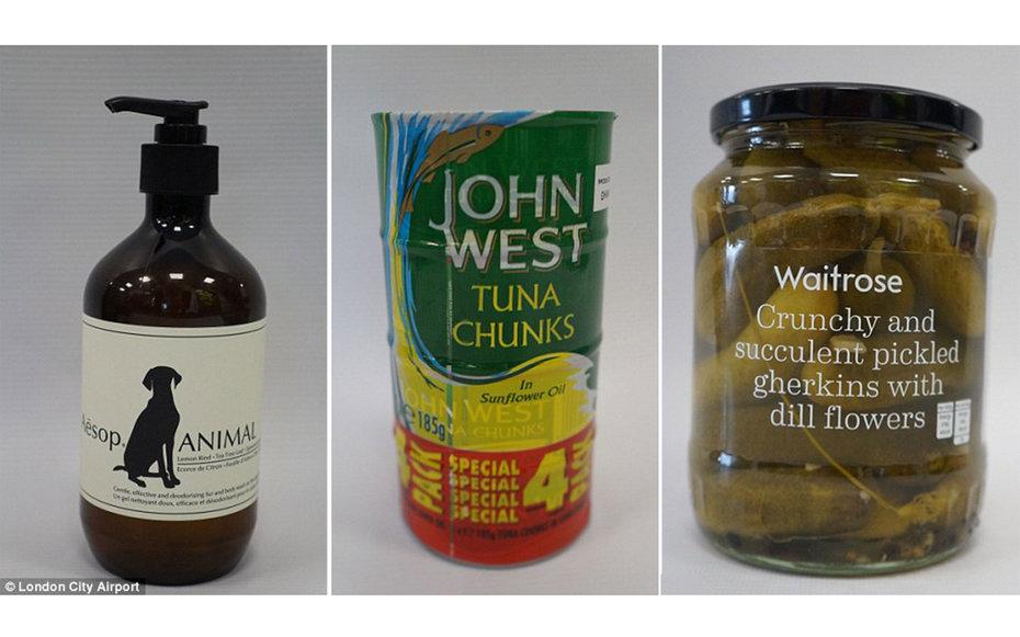 Tuna tins, Shampoo, Pickles