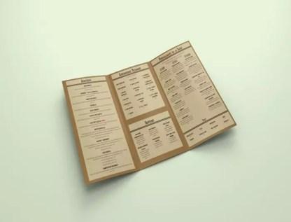 restaurant menu design example front