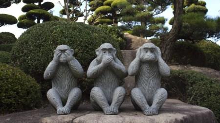 שלושת הקופים, לא ראינו, לא שמענו, לא נגיד מילה (צילום: פליקר)