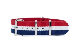 18mm red, white and blue nylon watch strap