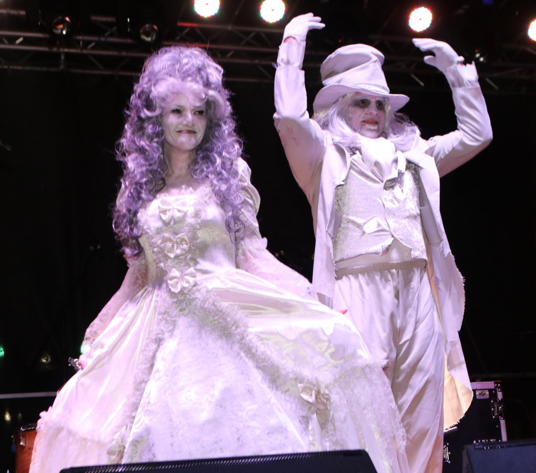 High Class Viennese Zombies about to break into a waltz at at Moonfest 2019 Costume Contest (photo by: Mike Jalches)
