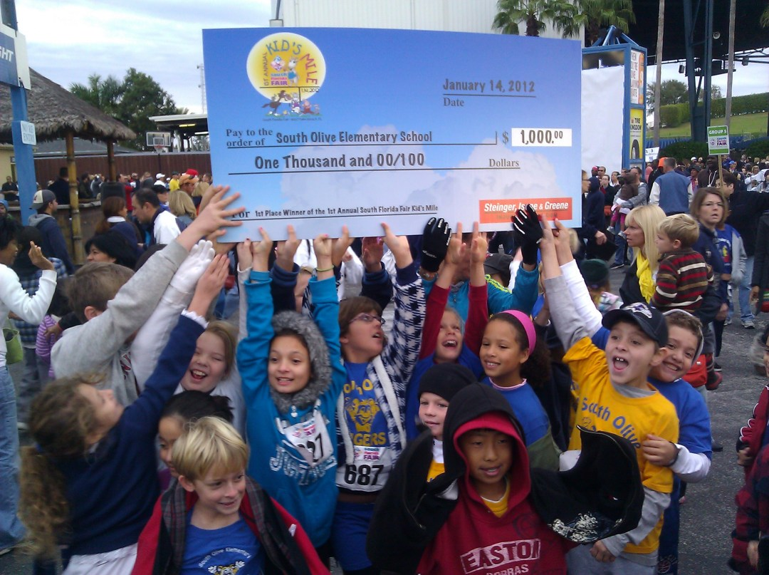 South Olive School WINS $1000 for largest participation in South Florida Fair's mile race.