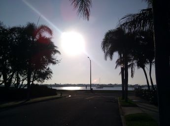 Coming onto Flagler Dr. you get a beautiful view of the sunrise (most mornings)
