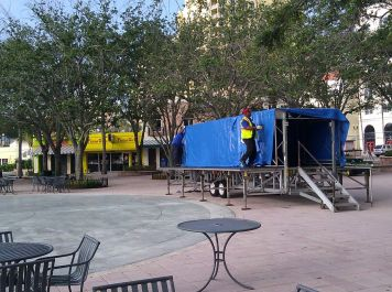 City workers are preparing for Clematis by Night, the weekly concert series on the Waterfront