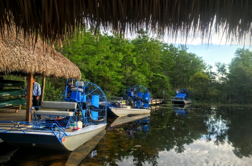 Airboats preparing to survey Grassy Waters Preserve