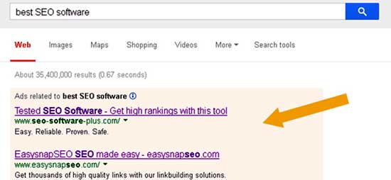 Google search result for best seo software keyword