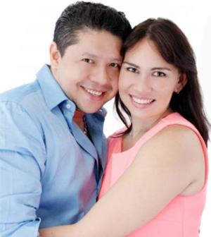 Couple posing as in a happy and healthy relationship