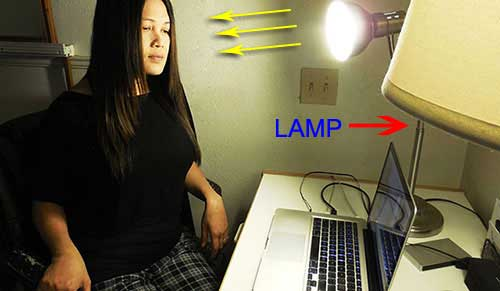 Light on face during making of youtube video