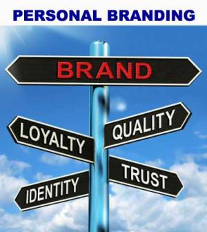 A sign post with brand and other aspects of personal branding shown as sign boards