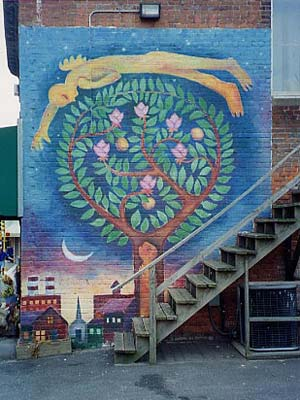 The mural tree of life on the wall