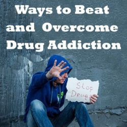 A former drug addict with stop drugs placard in hand campaigning ways to overcome drug addiction