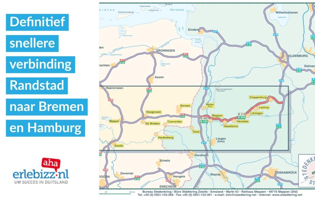 E233 van Randstad naar Bremen en Hamburg wordt definitief verdubbeld in Duitsland