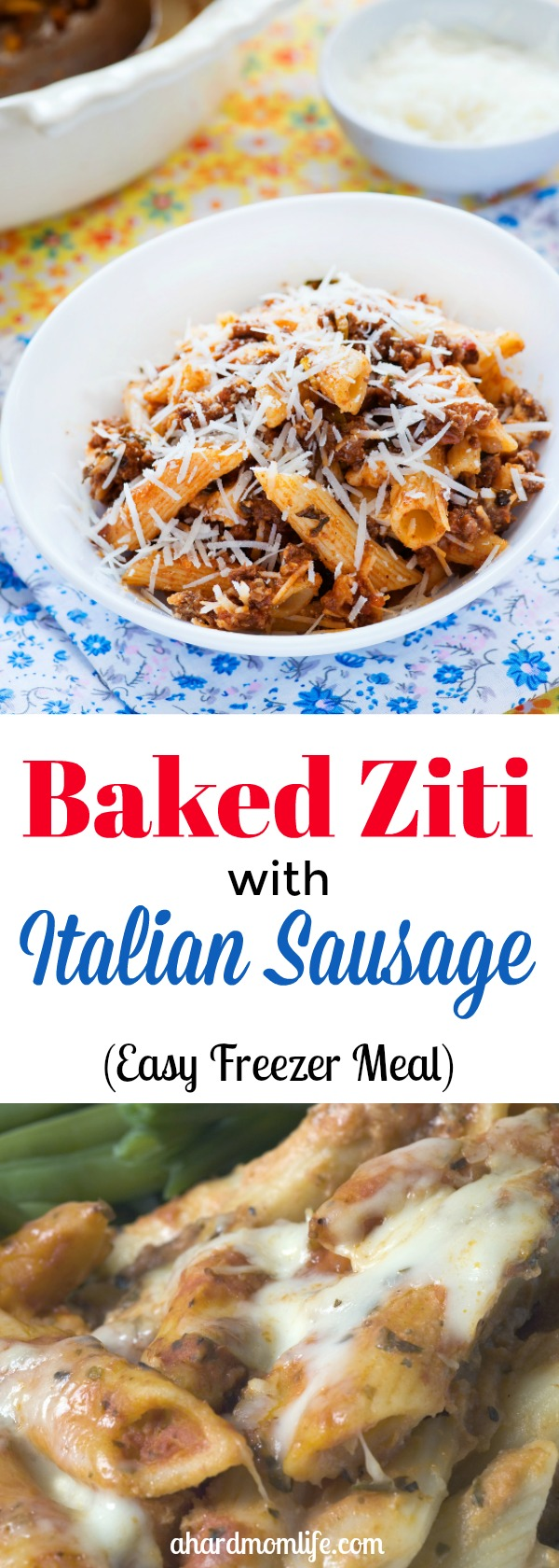 Looking for an easy freezer meal to prep and save time? Or, are you just looking for an easy weeknight meal that your kids will actually eat? Give this baked ziti with Italian sausage a try. You won't be disappointed. #freezer meal #easy recipe #easy weeknight dinner